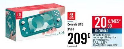 Oferta de NINTENDO SWITCH Consola LITE por 209€