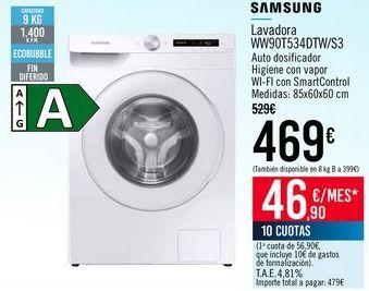 Oferta de SAMSUNG Lavadora WW90T534DTW/S3 por 469€