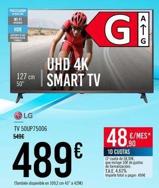 Oferta de LG TV 50UP75006 por 489€