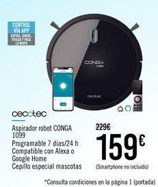 Oferta de CECOTEC Aspirador robot CONGA 1099 por 159€