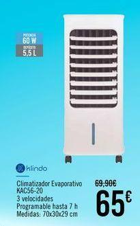 Oferta de Klindo Climatizador Evaporativo KAC56-20 por 65€