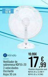 Oferta de Klindo Ventilador de sobremesa KDF55-20 por 17,99€