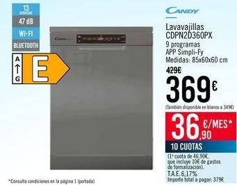 Oferta de CANDY Lavavajillas CDPN2D360PX por 369€