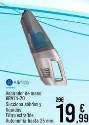 Oferta de Klindo Aspirador de mano KRV74-20 por 19,99€