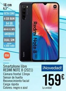 Oferta de XIAOMI Smartphone libre REDMI NOTE 8 (2021) por 159€
