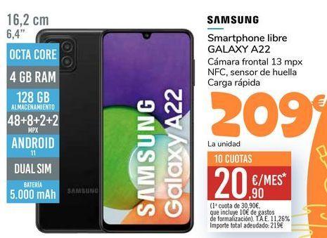 Oferta de SAMSUNG Smartphone libre GALAXY A22 por 209€