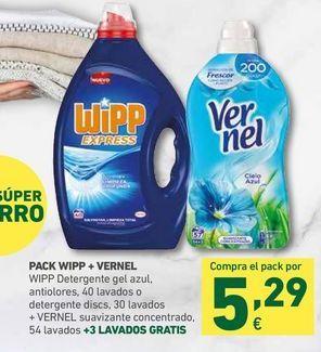 Oferta de PACK WIPP + VERNEL Wipp detergente gel azul, antiolores, 40 lavados o detergente discs, 30 lavados + Vernel suavizante concentrado, 54 lavados  por