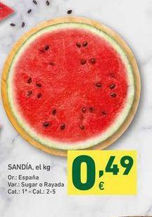 Oferta de Sandía, el kg por 0,49€