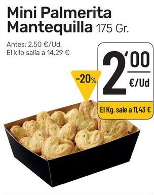 Oferta de Mini palmerita  mantequilla 175 g por 2€
