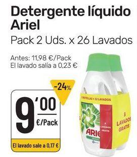 Oferta de Detergente líquido Ariel pack 2 uds x 26 lavados por 9€
