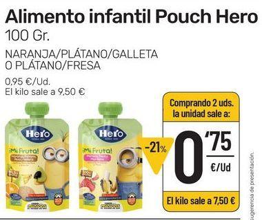 Oferta de Alimento infantil Pouch Hero 100 g naranja/plátano/galleta o plátano/fresa por 0,95€