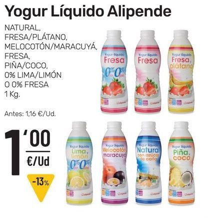 Oferta de Yogur líquido Alipende 1 kg por 1€