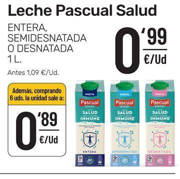 Oferta de Leche entera, semidesnatada o desnatada 1 l Pascual Salud por 0,99€
