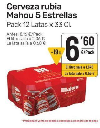 Oferta de Cerveza rubia Mahou 5 estrellas, pack 12 latas x 33 cl por 6,6€