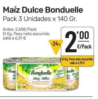 Oferta de Maíz dulce Bonduelle pack 3 uds x 140 g por 2€