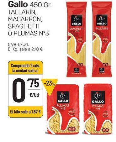 Oferta de Tallarín, macarrón, spaguetti o plumas Nro 3 Gallo 450 g por 0,98€