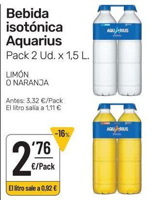 Oferta de Bebida isotónica Aquarius pack 2 uds x 1.5 l , limón o naranja por 2,76€