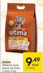 Oferta de ULTIMA Alimento para perros de pollo y arroz por 9,49€