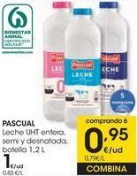 Oferta de PASCUAL Leche UHT entera, semi y desnatada botella por 1€