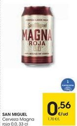 Oferta de SAN MIGUEL Cerveza Magna roja 0,0 por 0,56€