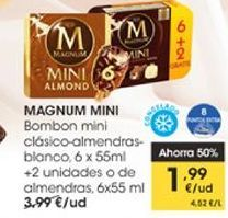 Oferta de MAGNUM MINI Bombon mini clásico-almendras-blanco, 6x55ml + 2 unidades o de almendras, 6x55 por 1,99€