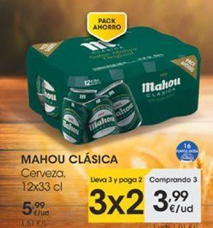 Oferta de MAHOU CLÁSICO Cerveza, 12x33 cl por 3,99€
