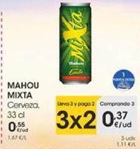 Oferta de MAHOU MIXTA Cerveza, 3cl por 0,37€