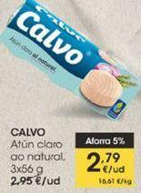 Oferta de Atún claro al natural Calvo, 3 x 56 g  por 2,79€