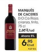 Oferta de  Marqués de Cáceres D.O Ca Rioja, crianza, tinto, 75 cl por 6,95€