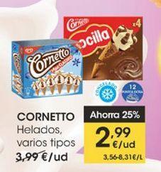 Oferta de Helados, varios tipos  Cornetto por 2,99€