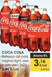 Oferta de Refresco de cola original, light, zero o zero zero, 2 x 2 l , Coca-Cola por 3,16€
