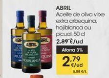 Oferta de Aceite de oliva virgen extra arbequina, hojiblanca o picual, 50 cl. Abril por 2,79€