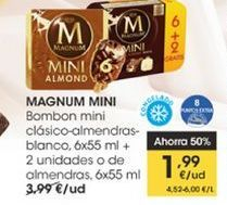 Oferta de Bombón mini clásico-almendras-blanco, 6 x 55ml + 2 uds o de almendras, 6 x 55ml  Magnum Mini por 1,99€