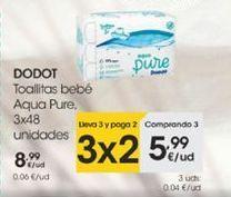 Oferta de Toallitas  bebé Aqua Pure , 3 x 48 uds  Dodot por 8,99€