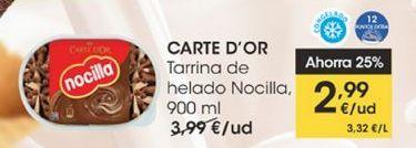 Oferta de Tarrina de helado Nocilla 900 ml Carte d'Or por 2,99€