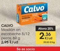 Oferta de Mejillones en escabeche 8/12 piezas, 69 g  Calvo por 2,36€