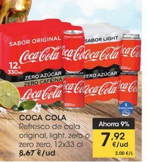 Oferta de Refresco de cola original, light, zero o zero zero  Coca-Cola 12 x 33 cl por 7,92€