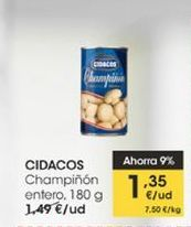 Oferta de Champiñones enteros Cidacos 180 g  por 1,35€