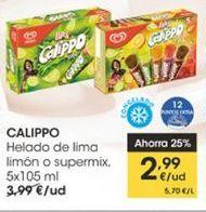 Oferta de Helado de lima limón o supermix, 5 x 105 ml Calippo por 2,99€