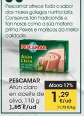 Oferta de Atún claro en aceite de oliva, 110 g  Pescamar por 1,29€