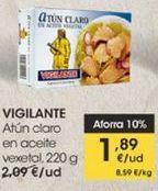 Oferta de Atún claro en aceite vegetal , 220 g Vigilante por 1,89€