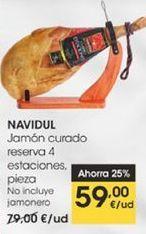 Oferta de Jamón curado Navidul reserva 4 estaciones, pieza. por 59€