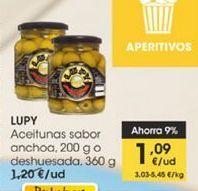 Oferta de Aceitunas sabor anchoa, 200 g o deshuesada, 360 g Lupy por 1,09€