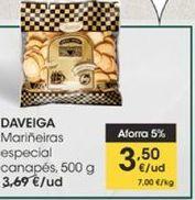 Oferta de Galletas marineras especial canapés Daveiga, 500 g por 3,5€