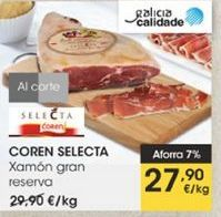 Oferta de Jamón gran reserva  Coren Selecta por 27,9€