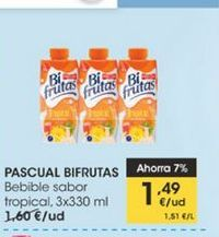 Oferta de Pascual Bifrutas bebible sabor tropical,3 x 330 ml  por 1,49€