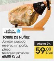 Oferta de Jamón curado reserva sin pata , pieza,  Torre de Núñez por 59€