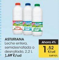 Oferta de Leche entera, semidesnatada o desnatada 2.2 l  Asturiana por 1,52€
