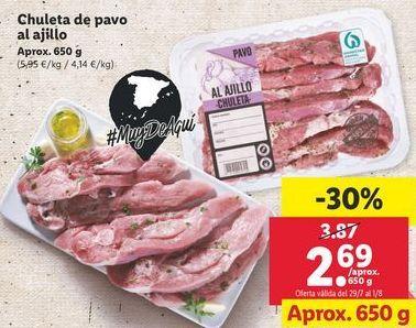Oferta de Chuletas de pavo al ajillo por 2,69€