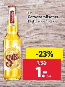 Oferta de Cerveza pilsener Sol por 1€